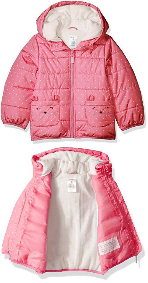 Carters Baby Girls Fleece Lined Critter Puffer Jacket Coat