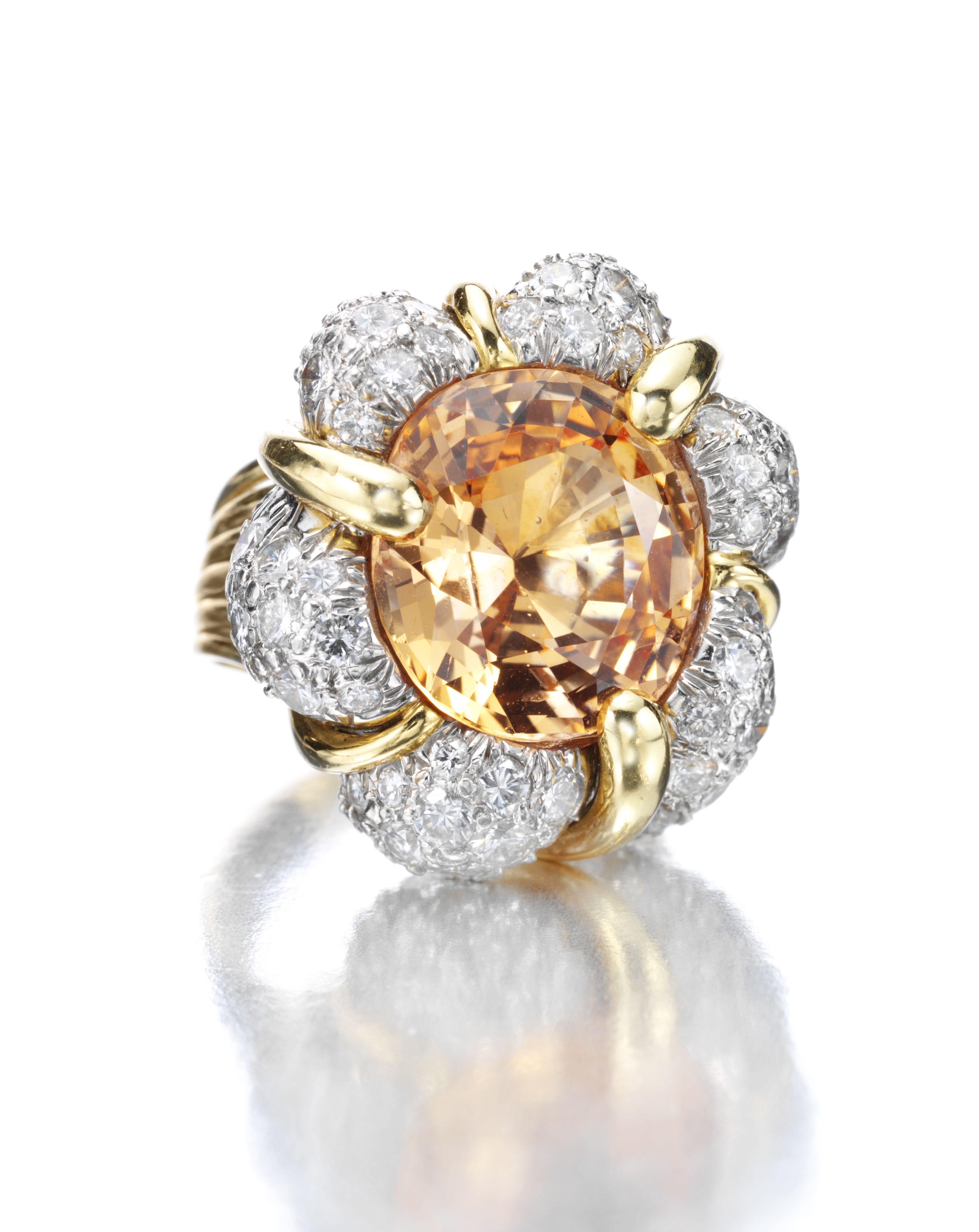 Verdura an unheated padparadscha sapphire and diamond uturbanu ring
