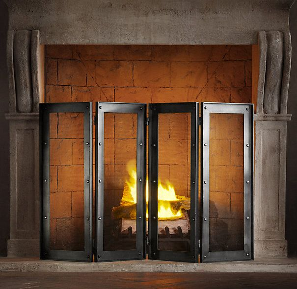 Industrial Rivet Four Panel Screen Industrial Fireplaces