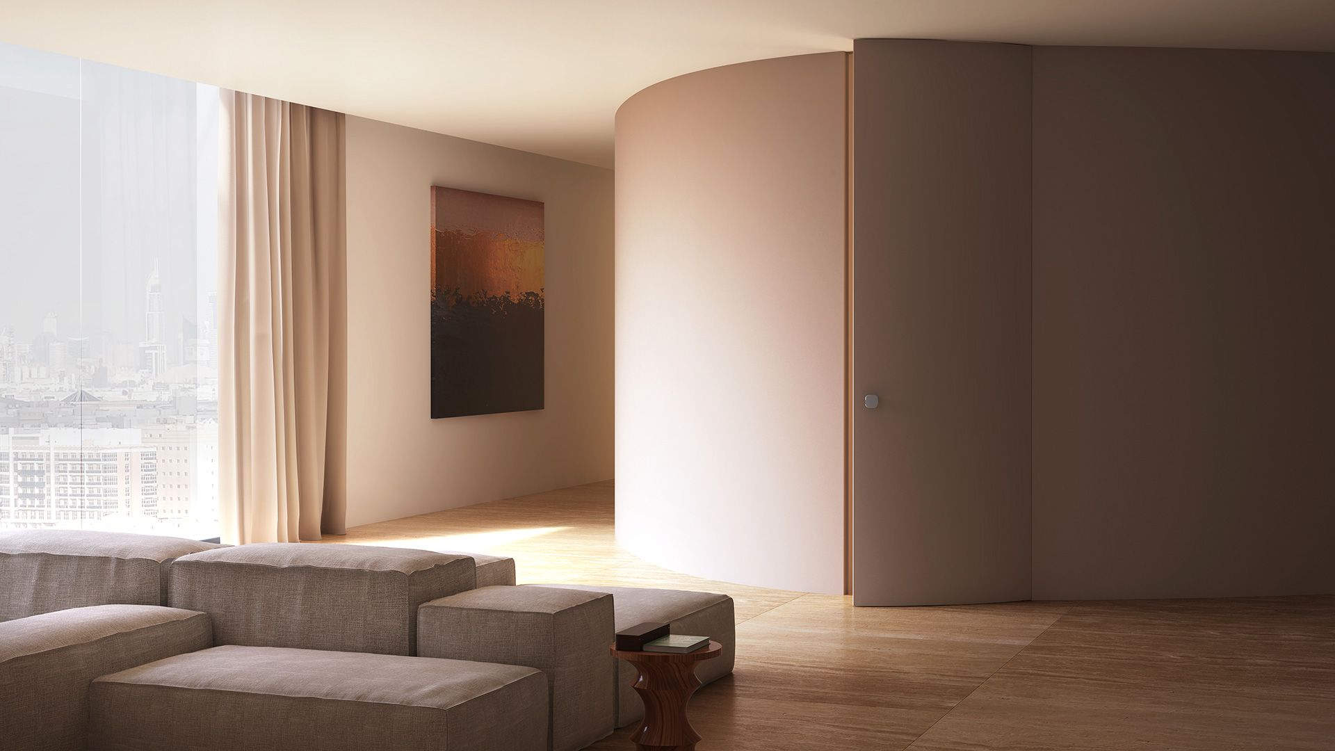 Linvisibile Alba Curved Hinged Door Invisible Doors Design Curved Walls