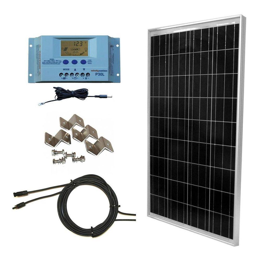 Features Complete Kit Includes 1 100 Watt Windynation Solar Panel 30 Amp User Adjustable Windynation P30l Lcd Display Solar Kit Solar Panels Rv Solar