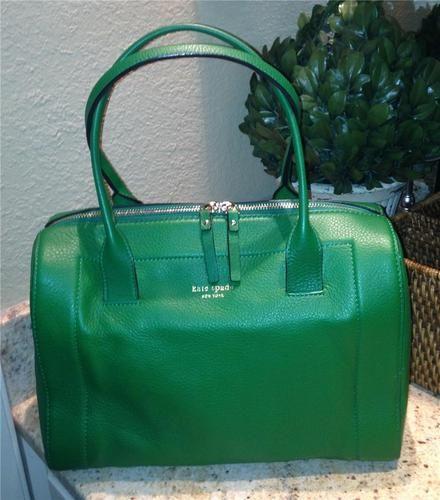 Auth 428 Kate Spade Mansfield Liv Fern Green Leather Satchel Bag Handbag Purse 225 On
