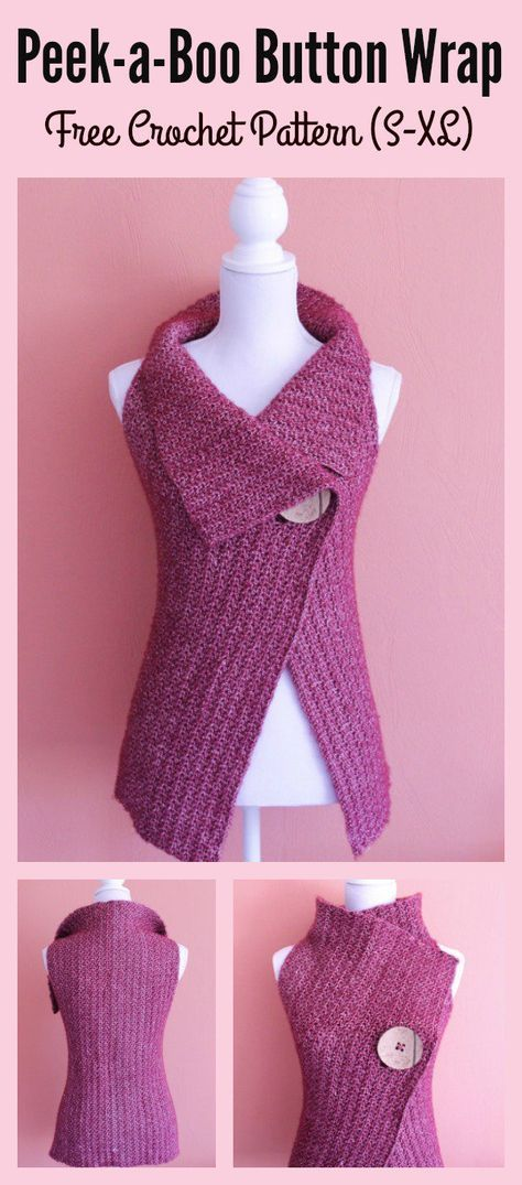 Peek-a-Boo Button Wrap Free Crochet Pattern and Video Tutorial (S-XL ...