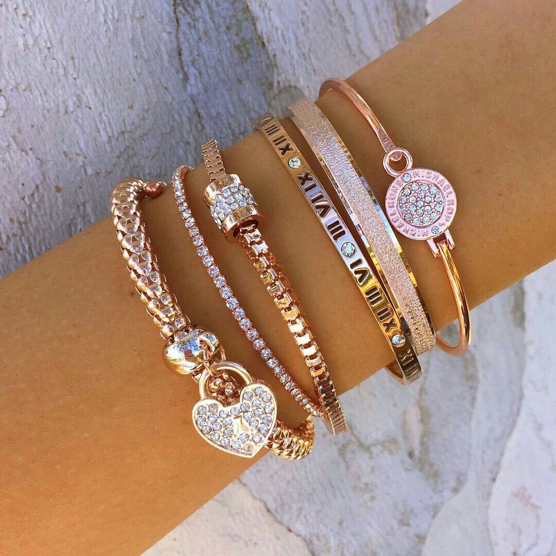 Beautiful Rose Gold Bracelets Braclets Preppy Stack Cute
