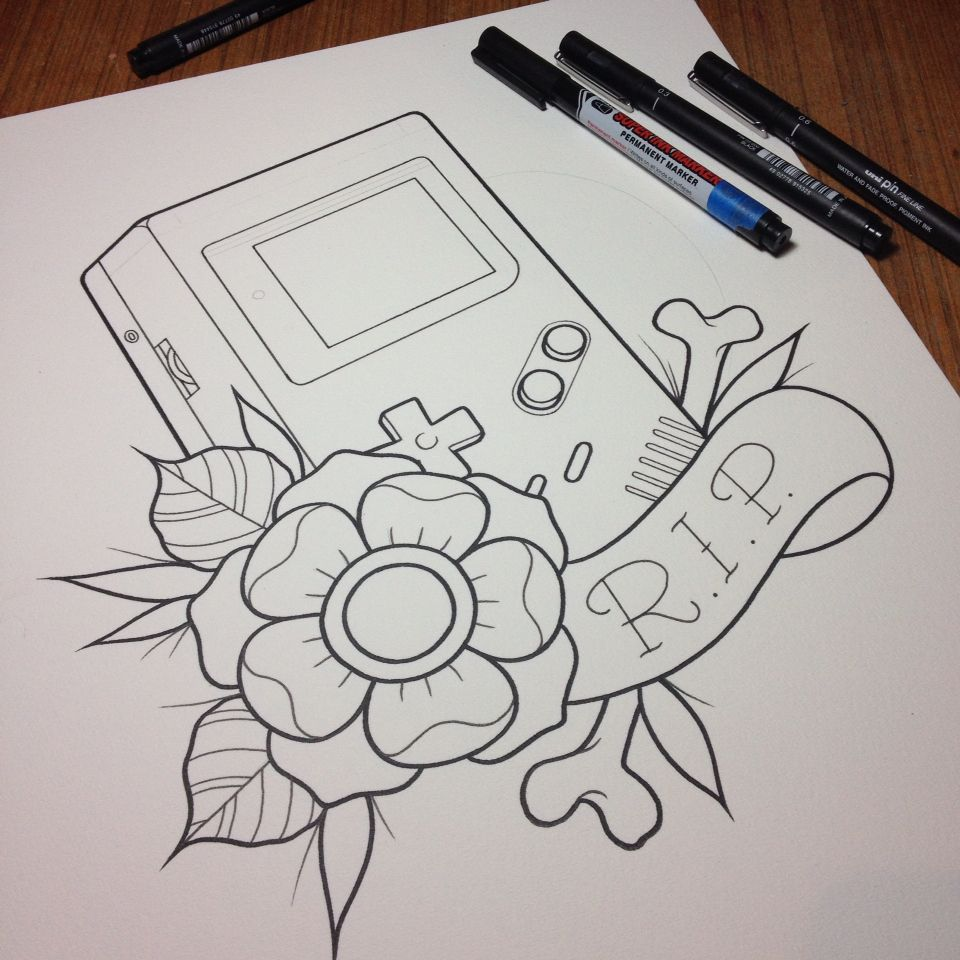 Nintendo Game Boy Watercolor Tattoo Flash In Progress