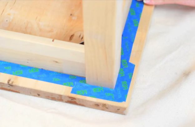Tape Off Top Wood Block | How to Make Kitchen Island Storage | DIY Projects