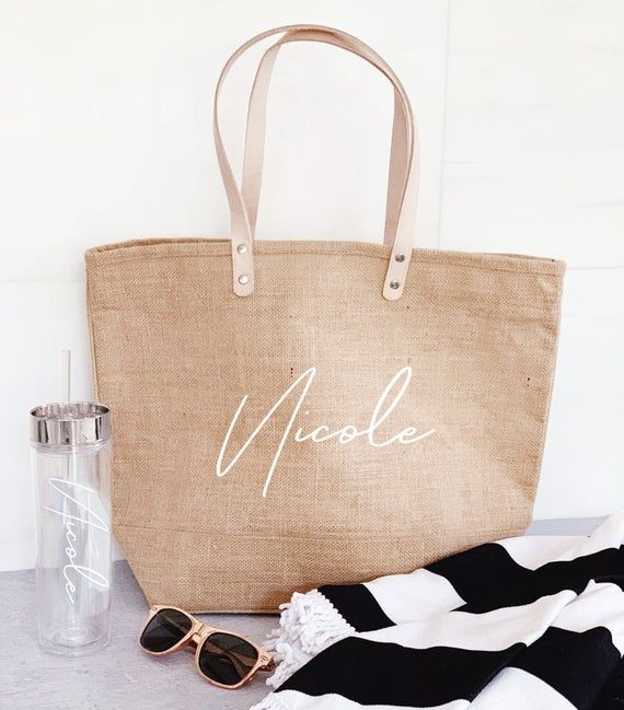 Beach Bag Personalized Burlap Bags Large Beach Tote Bags Bridesmaid Beach Bag Gift Beach Tote Bag with Name (EB3330ANS) #woodentotebag