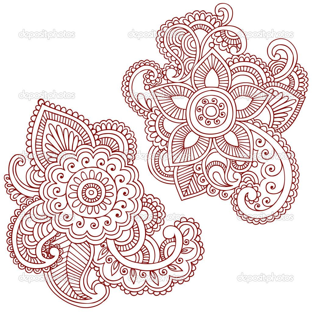 Coloring pages henna - Printable Difficult Level Mandala Coloring Pages Henna Mehndi Pasiley Mandala Flower Doodles Vector Stock Vector Tattoos Pinterest Hennas