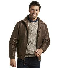 ddd01f164 Men's Sale, VIP Voyager Traditional Fit Leather Bomber Jacket - Jos ...