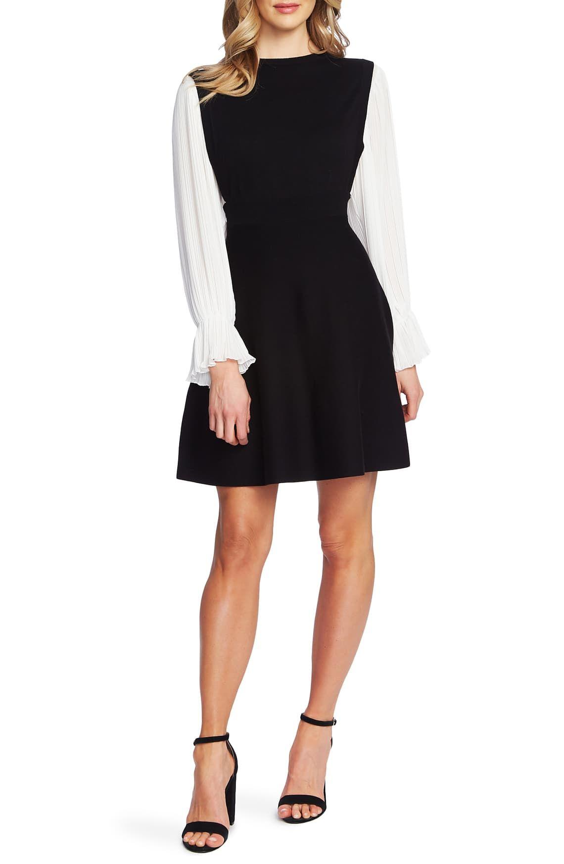 Cece Long Sleeve Fit Flare Sweater Dress Nordstrom Cotton Sweater Dress Sweater Dress Petite Sweater Dress Casual