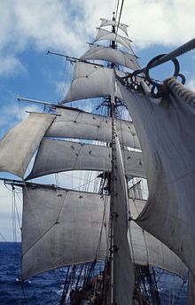 Moonraker: very top sail on the royal mast on large square rigged sailing ships of the clipper era; used on ships primarily built for speed.