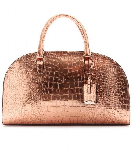 ac0c27502d0 JIL SANDER Novarra Metallic Leather Bowling Bag - Lyst