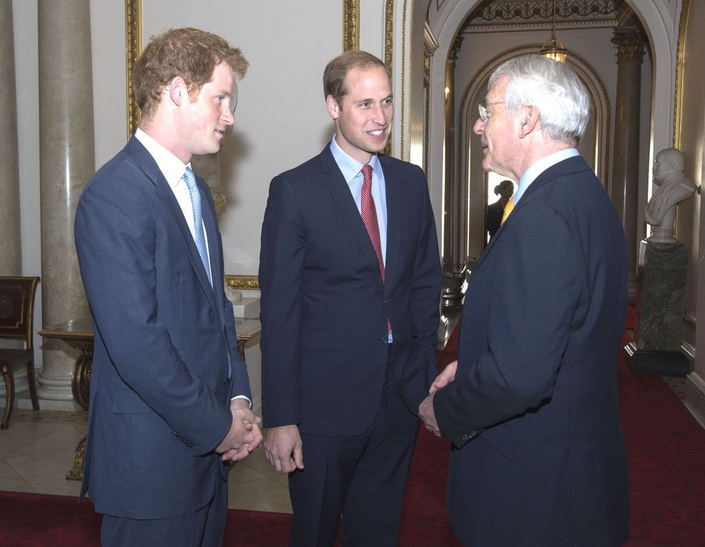 Prince Harry And Prince William Duke Of Cambridge Speak To Former British Prime Minister John Major During The Launch Of The Queens Young Leaders