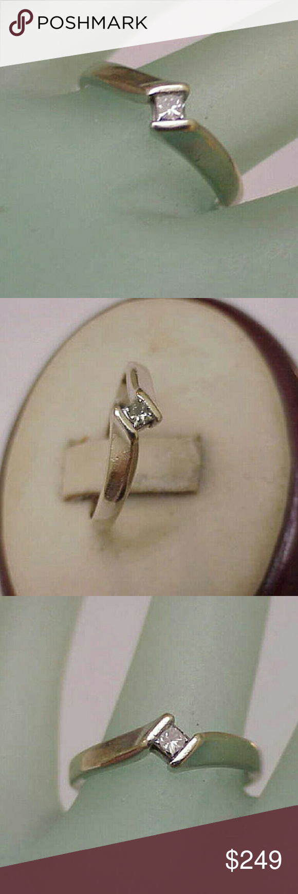 14k  gold. 10ct diamond engagement ring Princess cut diamond si in clarity and h in color.  Stamped 14k Weight 2.2gr Size 6 1/2 Jewelry Rings
