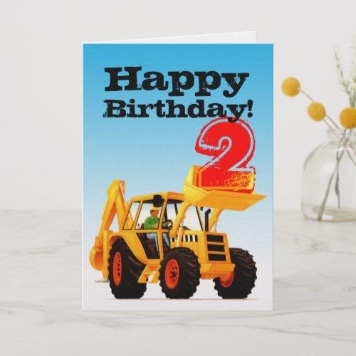 Kids Yellow Digger 2nd Birthday Card Zazzle Com Happy Birthday Kids Birthday Gifts For Kids Kids Birthday Party Invitations