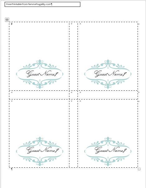 Superb #free Place Card Template Blue Home Design Ideas