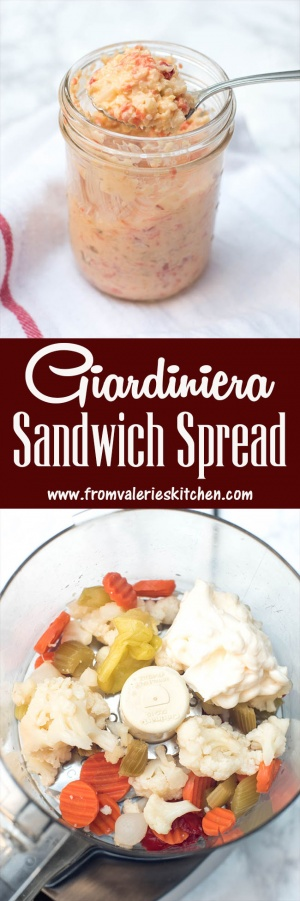 A colorful, flavor-packed, super versatile condiment recipe. Giardiniera Sandwich Spread consists of two ingredients and only takes a minute to make! ~ http://www.fromvalerieskitchen.com