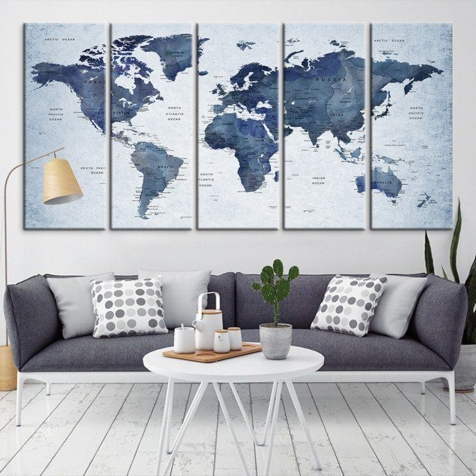 16004 - Large Wall Art World Map Canvas Print- Custom World Map Push Pin Wall Art- Custom World Map Canvas Poster Print- Personalized Wall Art