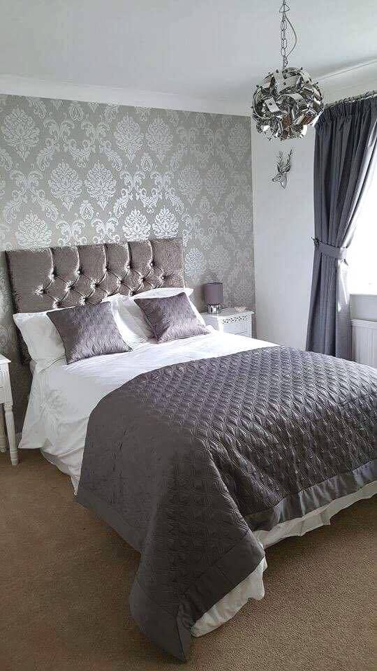 Chelsea Glitter Damask Wallpaper Soft Grey Silver Grey Wallpaper Bedroom Grey Bedroom Decor Posh Bedroom