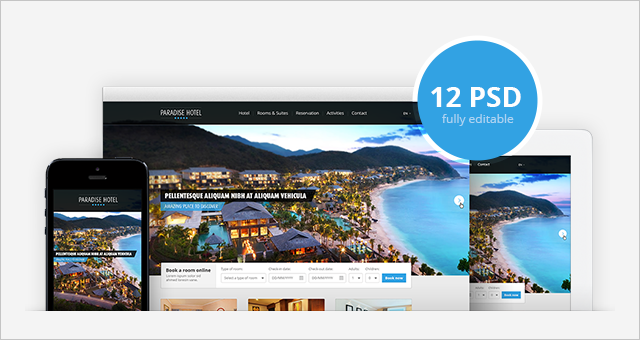Free Responsive Hotel Website Psd Template Design Psd Templates
