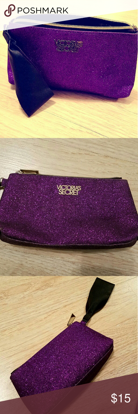 Victoria's Secret Glitter Cosmetic Bag Barely used, excellent condition! Measures 9 in wide by 5 in tall. Adorable little bag! Very clean interior as well Victoria's Secret Bags Cosmetic Bags & Cases