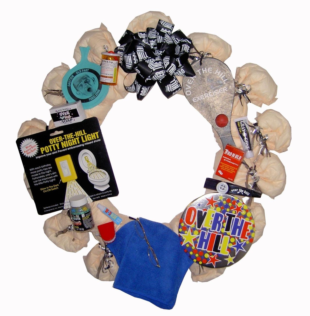 Old People Christmas Gifts: Diaper Wreath-Over The Hill Theme