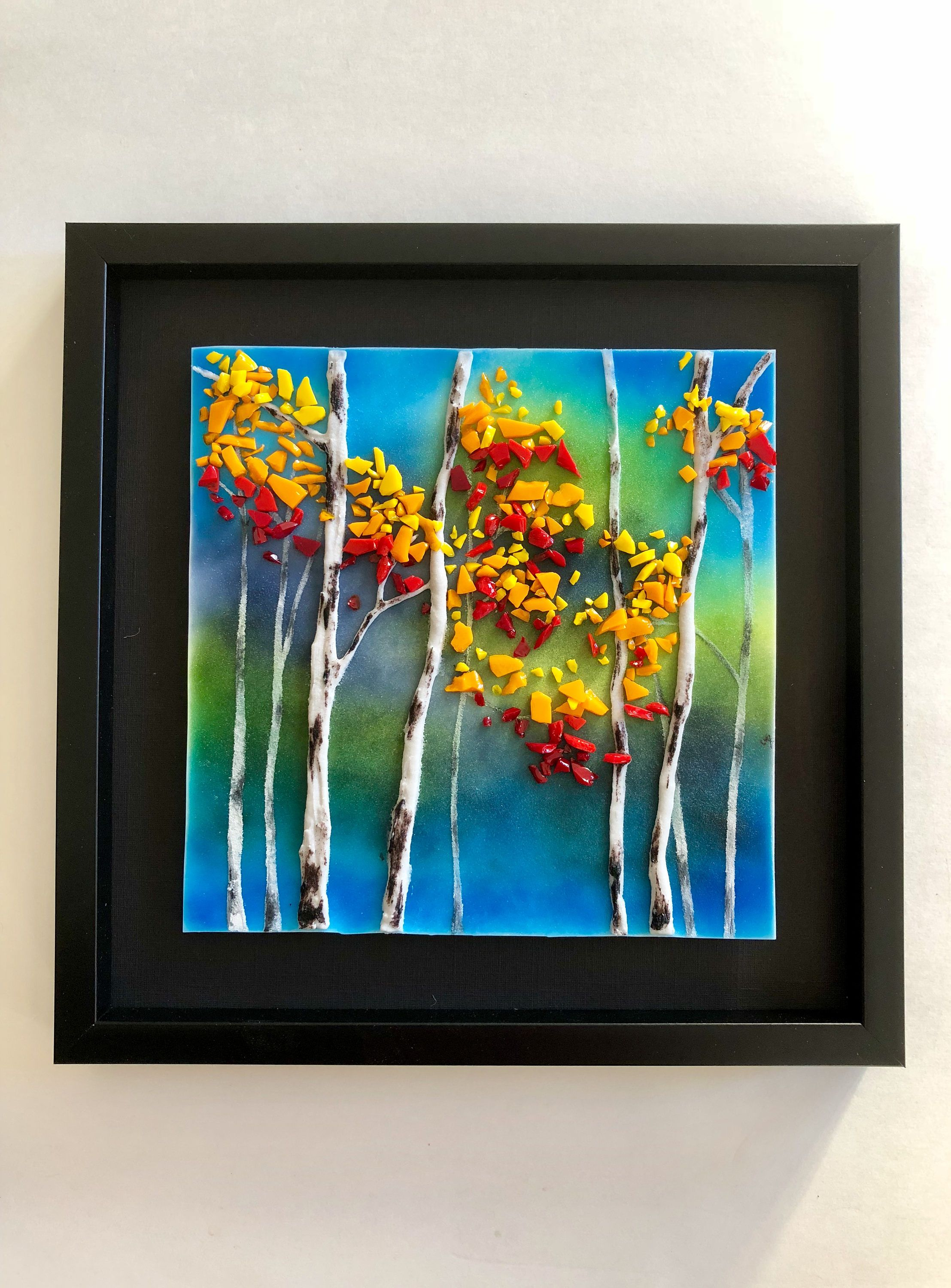 Fused Gl Handmade Aspen Trees Wall Panel Art