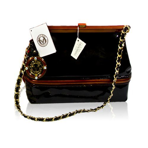 c15f0eb3736d4 Valentino Orlandi Italian Designer Black Leather w Chain Strap Clutch Purse  Bag