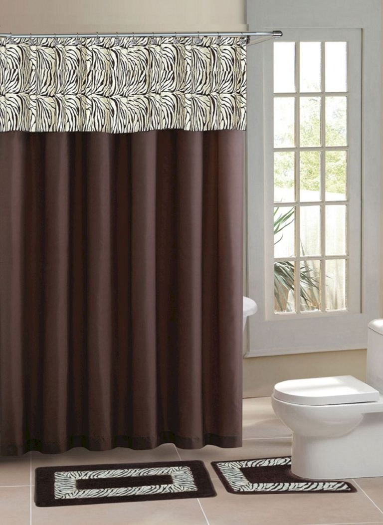 Bathroom Shower With Curtain 010 Brown Shower Curtain