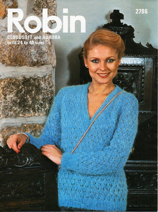 womens mohair sweater knitting pattern PDF ladies lacy v neck jumper ...
