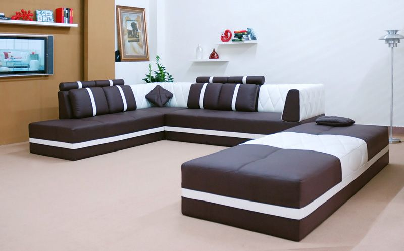 manhattan modern full leather sectional sofa set