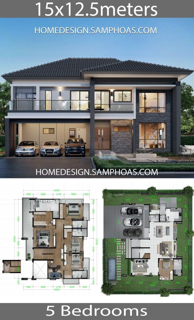 Home Design Plans 15x12 5m With 5 Bedrooms Home Ideassearch Beautiful House Plans House Construction Plan New Model House