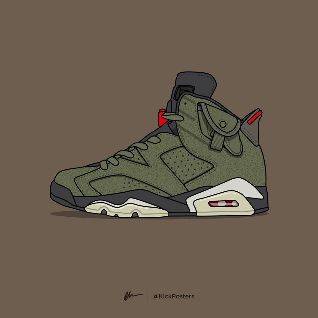 Air Jordan Vi X Travis Scott Art By Kick Posters Travis Scott Poster