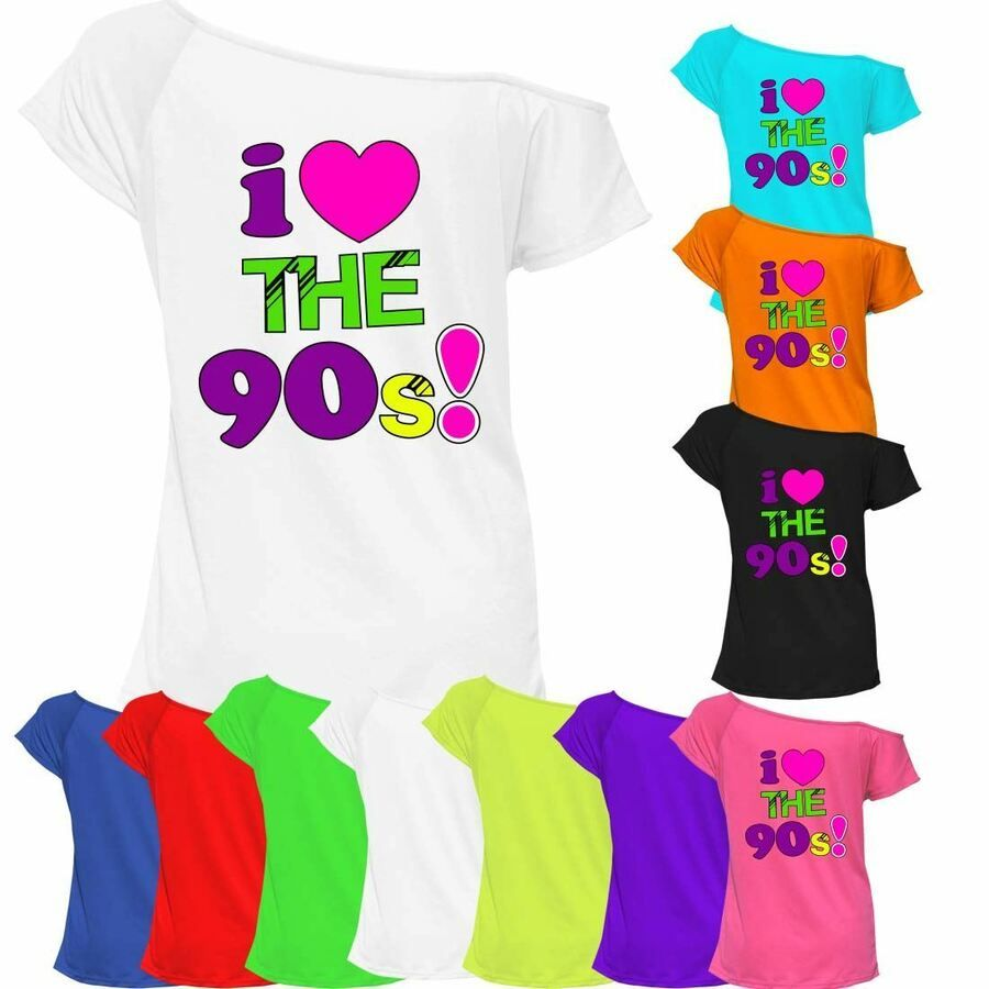 Women/'s Ladies I Love The 90/'s T-Shirt Fancy Dress Retro Outfit Hen Party Top