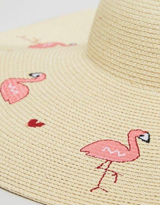 ASOS Flamingo   Heart Oversized Floppy Straw Hat  73e3bbcbf229
