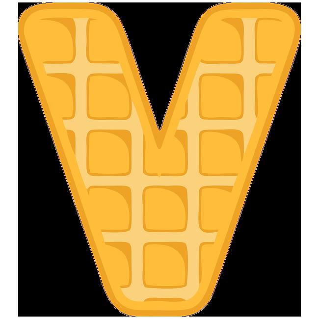 Buchstabe Letter V Alphabet Shortcrust Pastry Waffles