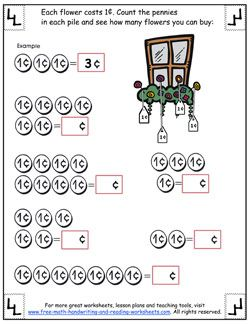 Counting Pennies Worksheets Counting Pennies Worksheet Pennies