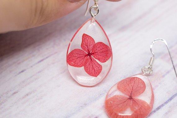 e70b68c85a8950 Hydrangea earrings Red flower earrings Real plant jewelry Botanical resin  earrings Nature lover gift