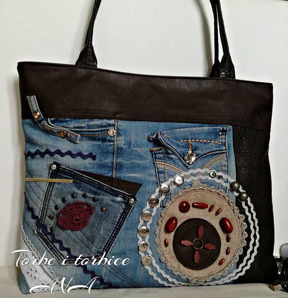 Tote Bag, Denim Bag, Faux Leather Bag, Jeans Bag, Unique bag ...