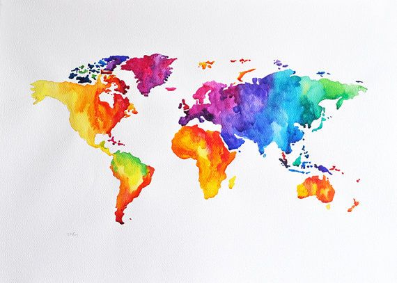 Original Abstract World Map Watercolor Painting Large Colorful
