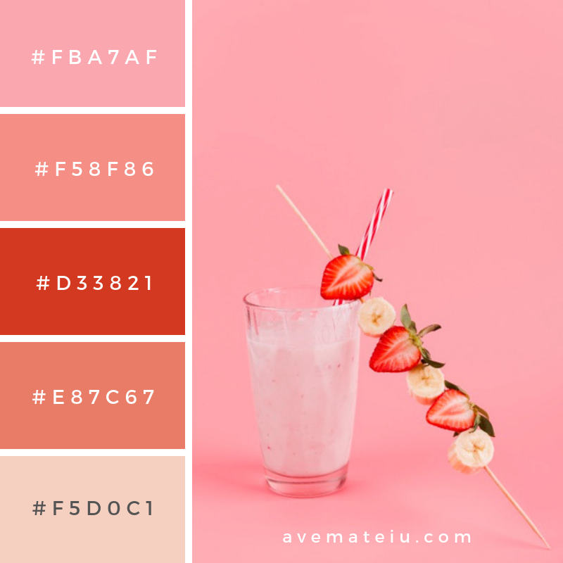Strawberry banana beverage in glass. Color Palette #235 | Ave Mateiu