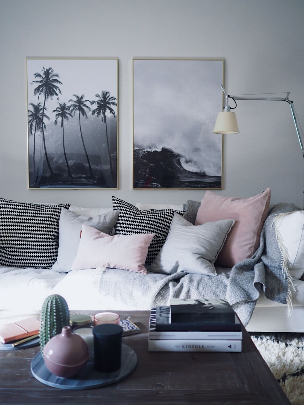 Grey Sofas With Blue And Pink Cushions Google Search Black Living Room Living Room Warm Living Room Color Schemes
