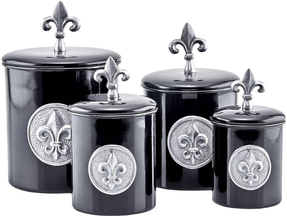 Canister Set Storage Fleur Du0027Elise Stainless Elegant Kitchen Steel Black  Modern