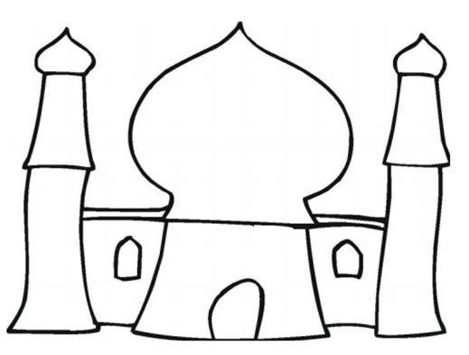 Mosque Coloring Page Cartoon Warna Sketsa Gambar