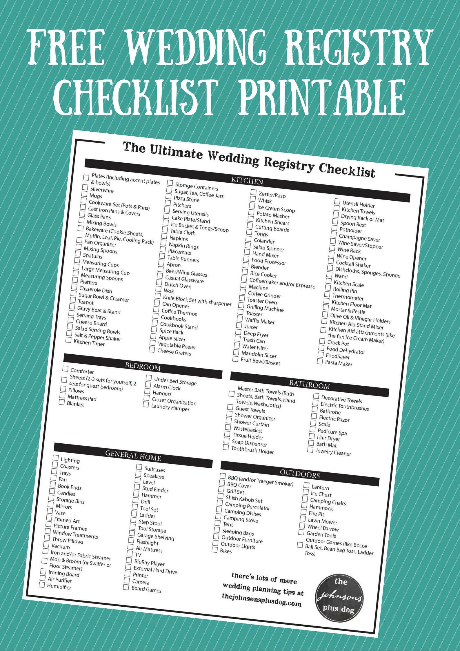 The Ultimate Wedding Registry Checklist + Free Printable