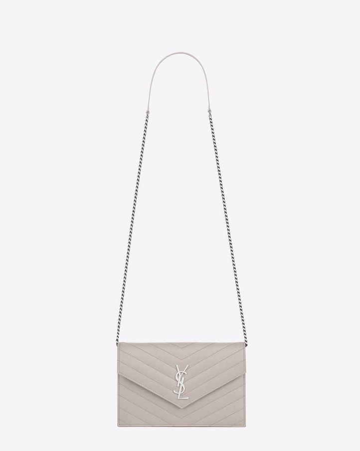 59b7989bfd Envelope chain wallet in grain de poudre embossed leather