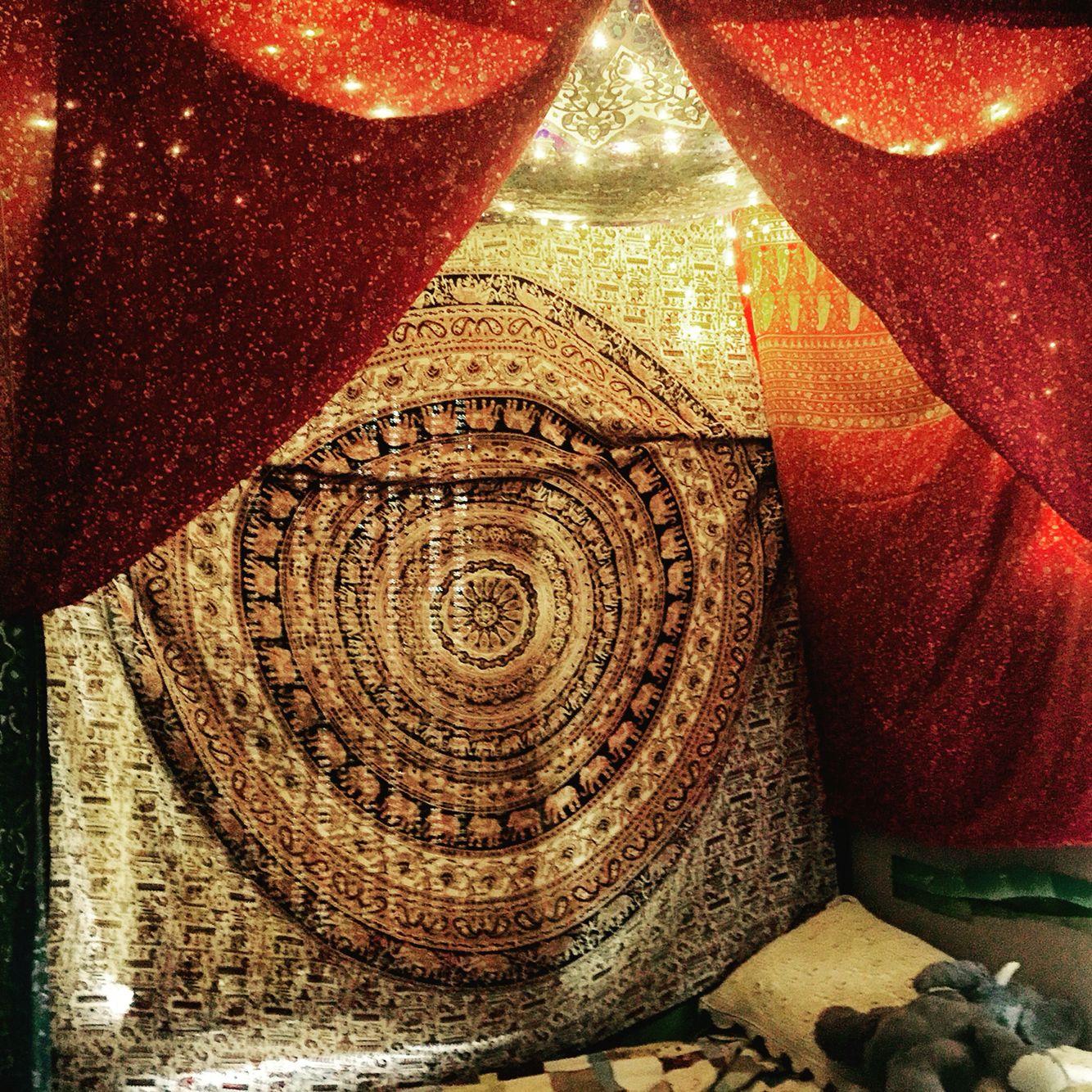 Bed canopy gypsy - Bohemian Tapestry Bedroom Canopy With Fairy Lights Aka Gypsy Cave