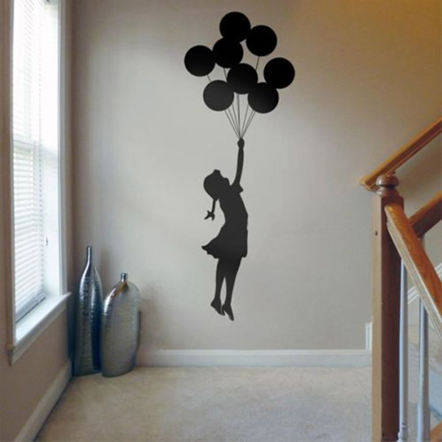 Banksy Wall Sticker Floating Balloon Art Home Decor Vinyl Decal Self Adhesive Graffiti