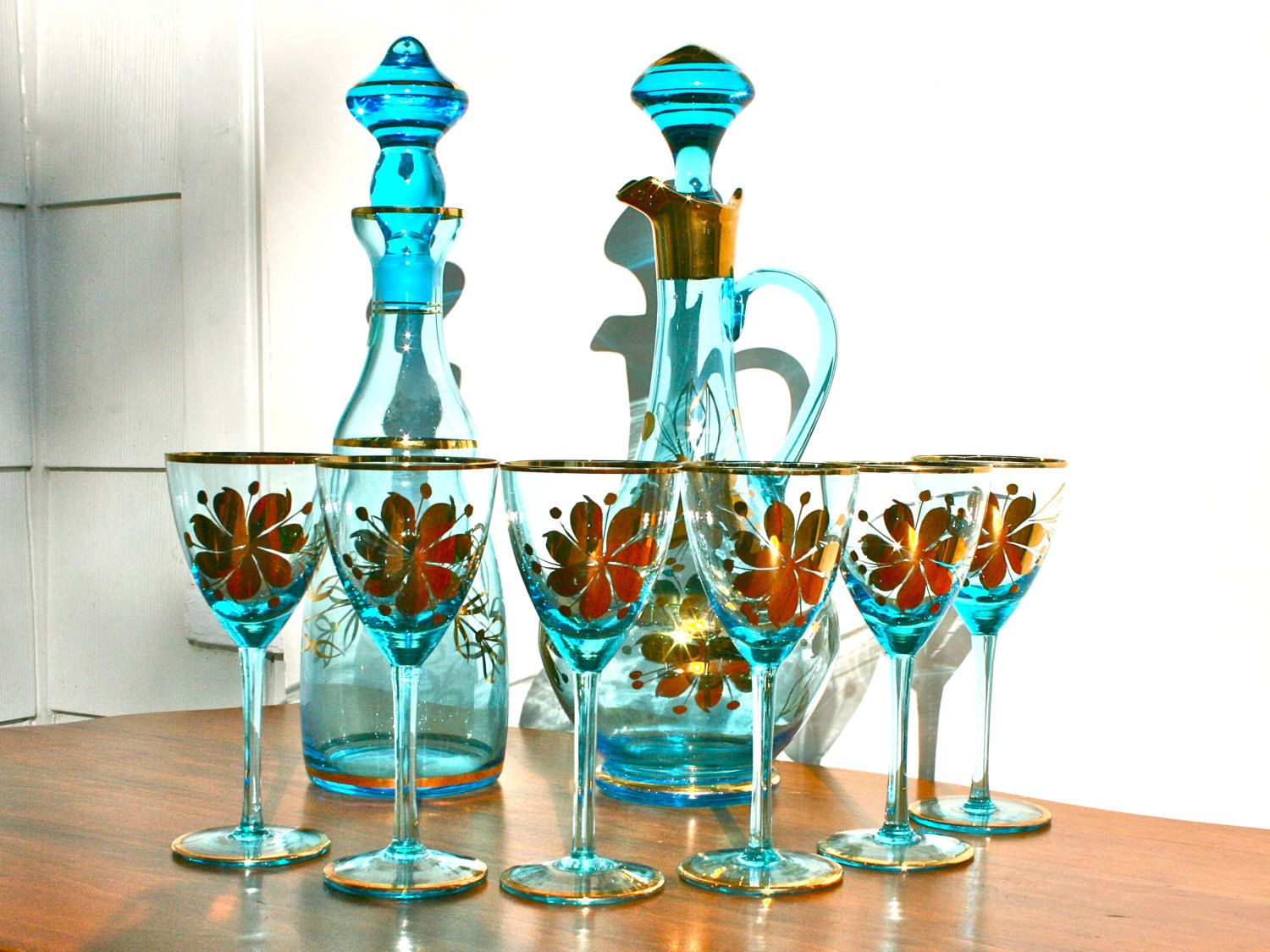 Antique Romanian Blue Glass Decanter Set With Metallic Gold Etsy Glass Decanter Set Antique Wine Glass Hand Blown Glass Decanter