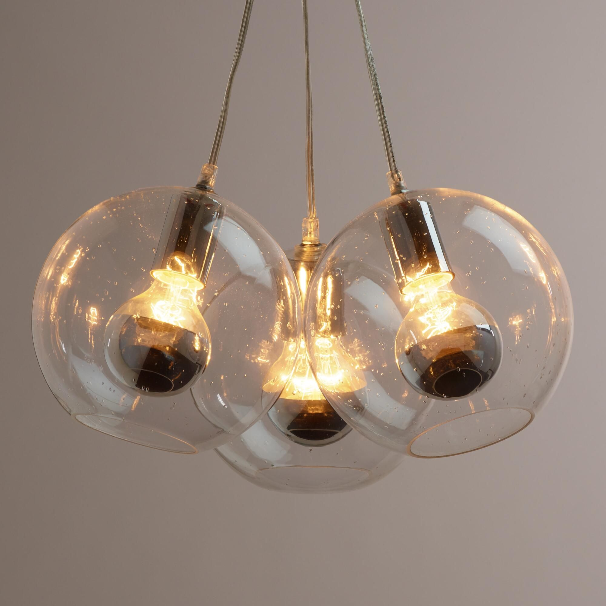 Seeded Glass Chrome Tip 3 Bulb Cluster Pendant Lamp